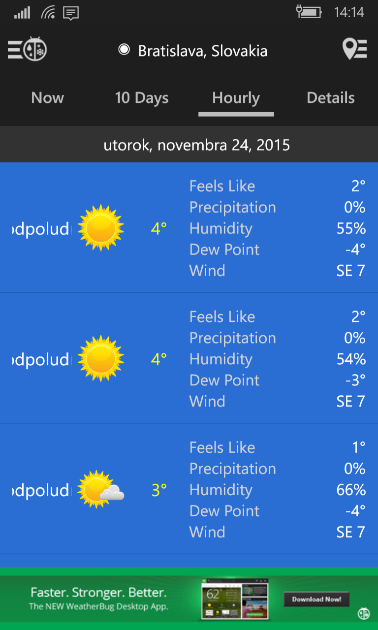 Aplikácie pre Windows 10 a Windows 10 Mobile – Počasie a36c9c049ed