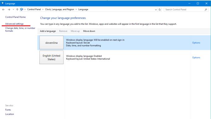 windows 10 jazyk