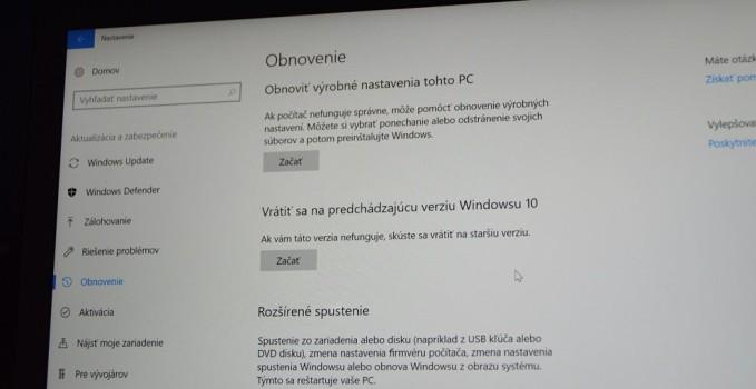 Ako sa vrátiť na predošlú verziu Windows 10